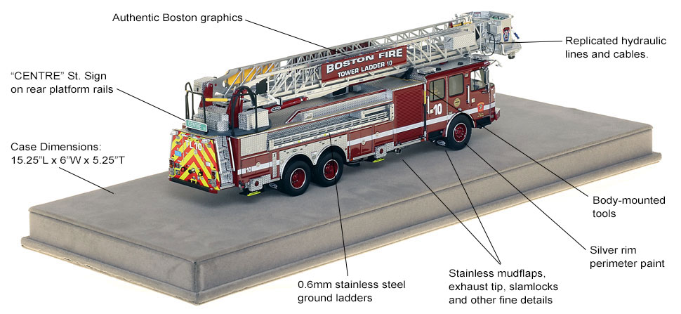 Specs and features of Boston Tower Ladder 10 scale model