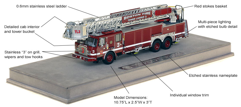 Features and specs of Boston Tower Ladder 3 scale model