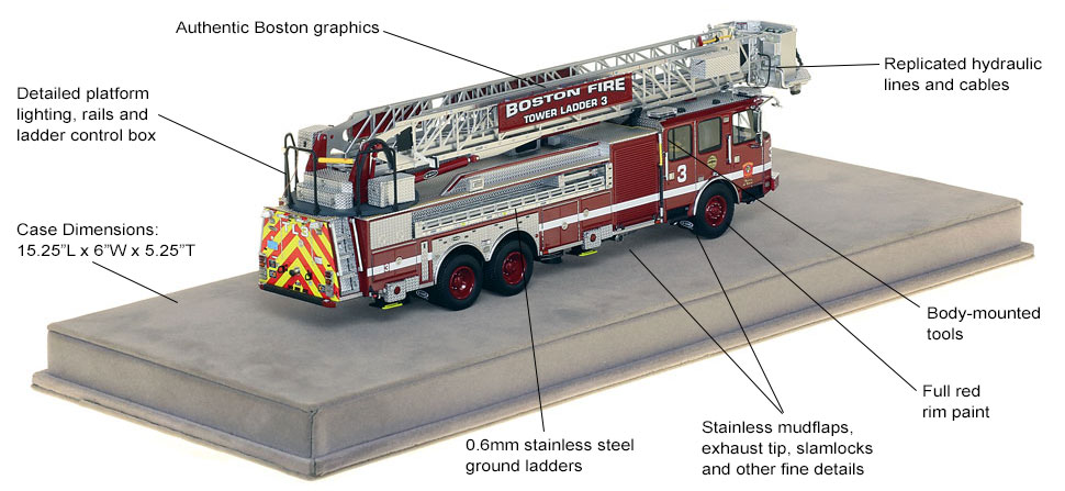 Specs and features of Boston Tower Ladder 3 scale model