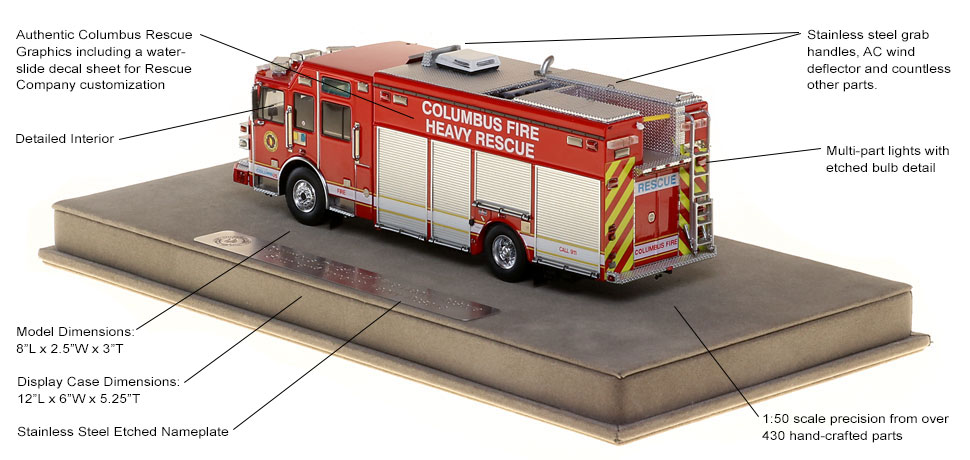 Columbus Division of Fire Heavy Rescue scale model specs