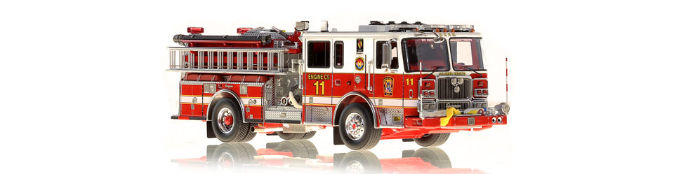 1:50 scale museum grade model of D.C. Fire & EMS Engine 11