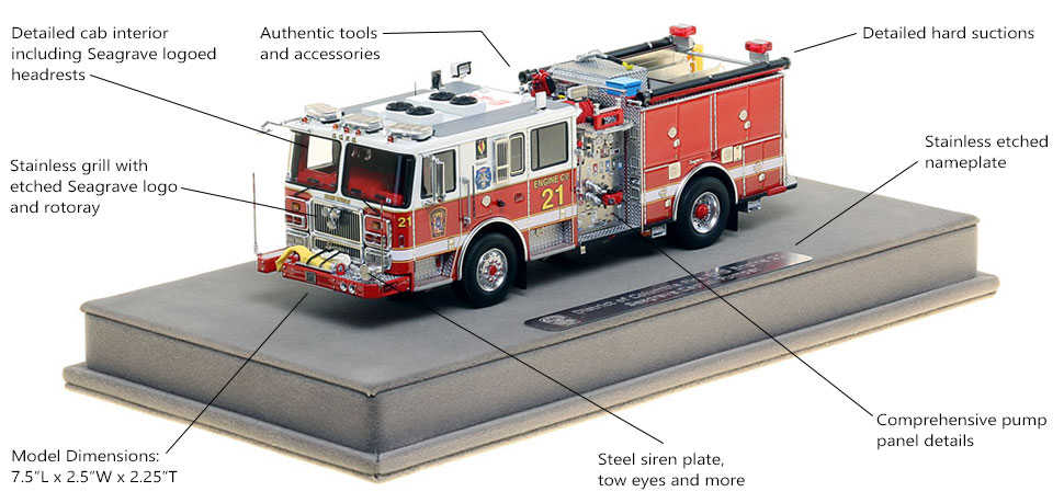 Features and Specs of DC Fire and EMS Engine 21 scale model