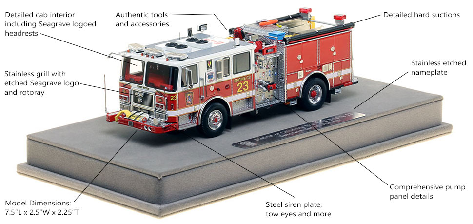 Features and Specs of DC Fire and EMS Engine 23 scale model