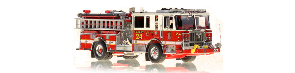 1:50 scale museum grade model of D.C. Fire & EMS Engine 24