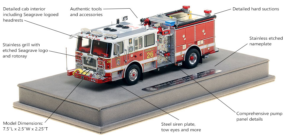 Features and Specs of DC Fire and EMS Engine 26 scale model
