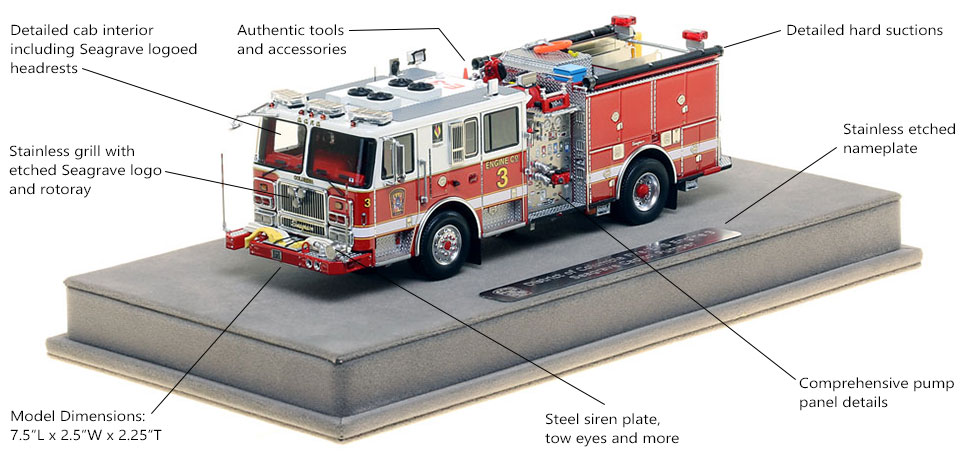 Features and Specs of DC Fire and EMS Engine 3 scale model