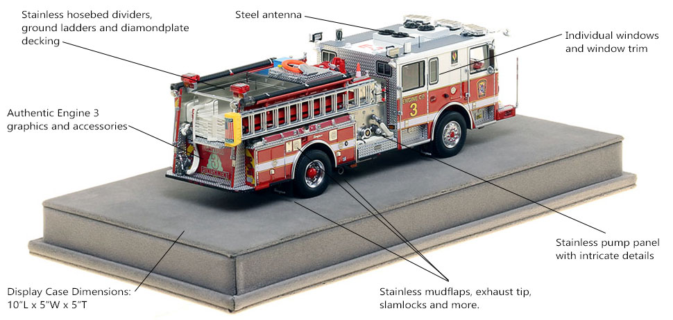 Specs and Features of DC Fire and EMS Engine 3 scale model