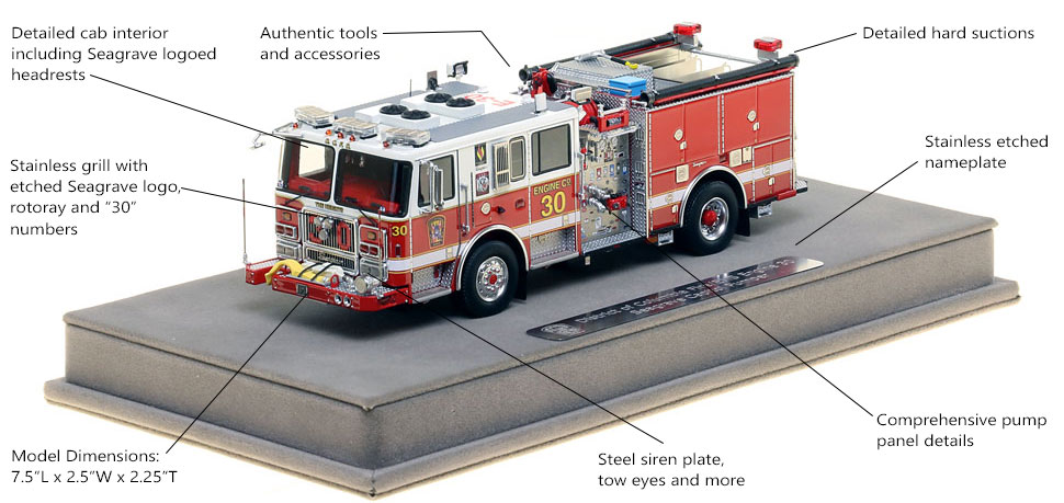 Features and Specs of DC Fire and EMS Engine 30 scale model