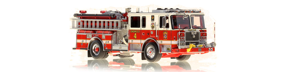 1:50 scale museum grade model of D.C. Fire & EMS Engine 4