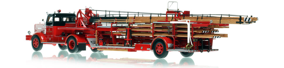 Chicago Fire Department 1954 FWD 85' Tractor-Drawn Aerial scale model is hand-crafted