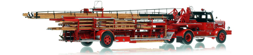 Each Chicago FWD 85' Tractor-Drawn Aerial scale model includes a custom display case