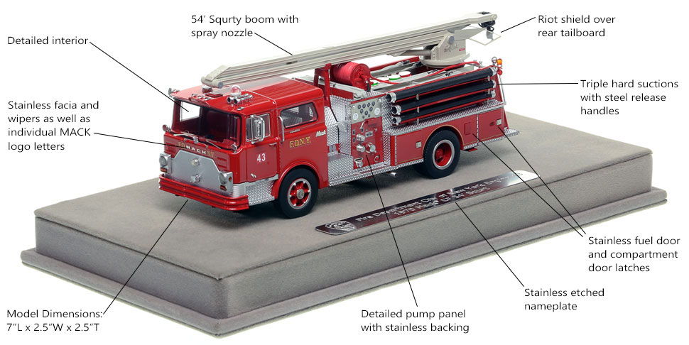 Specs and features of the FDNY Mack CF Squrt Engine 43 scale model