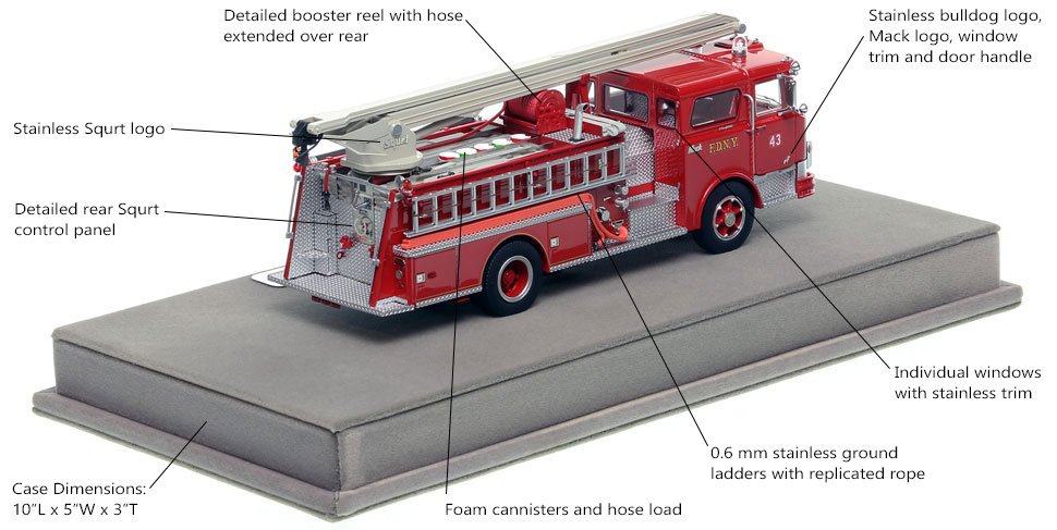 Features and specs of the FDNY Mack CF Squrt Engine 43 scale model