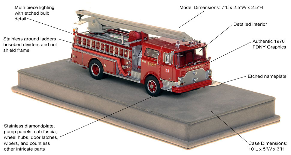 Specs and features of the FDNY 1970 Mack CF Squrt
