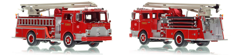 FDNY 1970 Mack CF Squrt Engine 43 is hand-crafted, limited in production and display ready