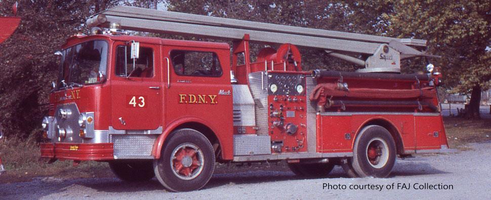 FDNY 1970 Mack CF Squrt Engine 43 courtesy of FAJ Collection