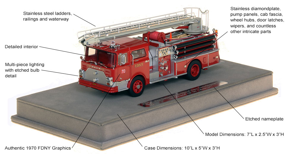 Features and specs of the FDNY Mack CF Telesqurt scale model