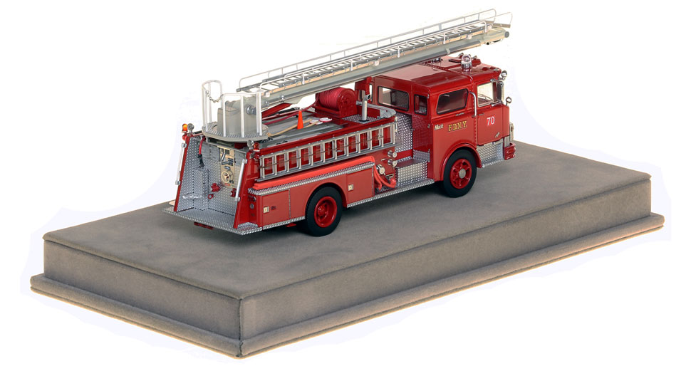 FDNY Engine 70 Mack CF Telesqurt includes a fully custom display case.