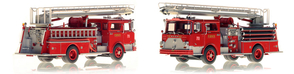 FDNY's 1970 Mack CF 50' Telesqurt is hand-crafted and includes a display-ready case