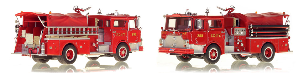 FDNY's 1970 Engine 298 scale model is hand-crafted and intricately detailed.