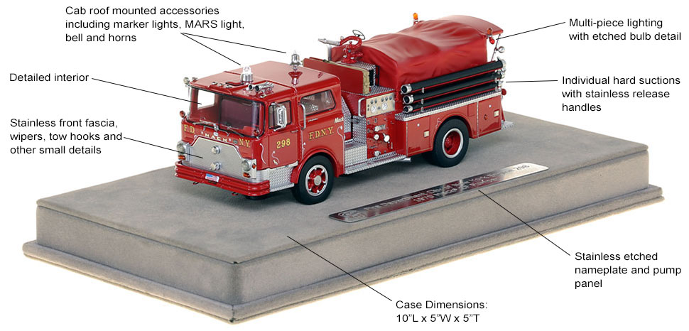 Features and Specs of FDNY's 1970 Mack CF Engine 298 scale model