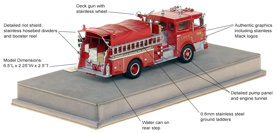 Specs and features of FDNY's 1970 Mack CF Engine 298 scale model