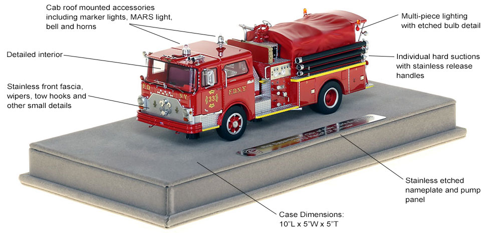 Features and Specs of FDNY's 1970 Mack CF Engine 33 scale model