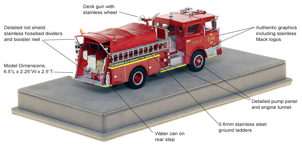 Specs and features of FDNY's 1970 Mack CF Engine 33 scale model