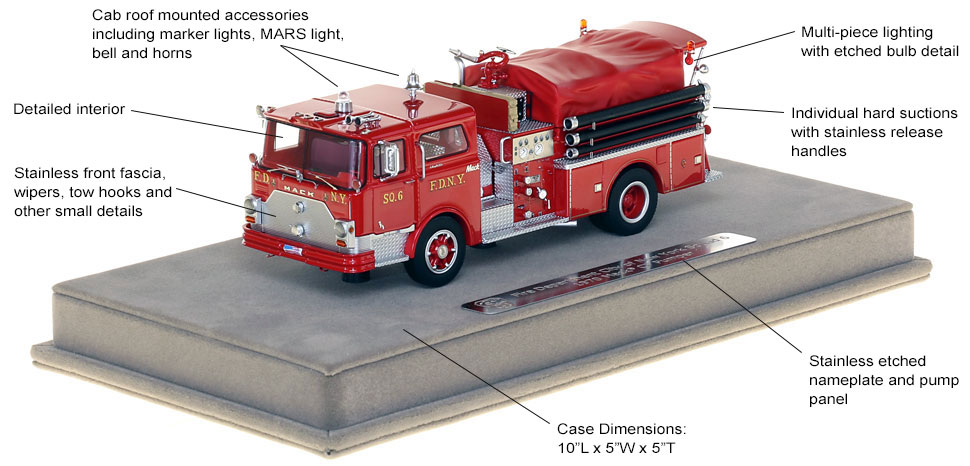 Features and Specs of FDNY's 1970 Mack CF Squad 6 scale model