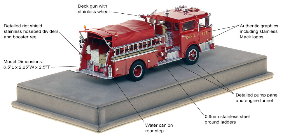 Specs and features of FDNY's 1970 Mack CF Squad 6 scale model