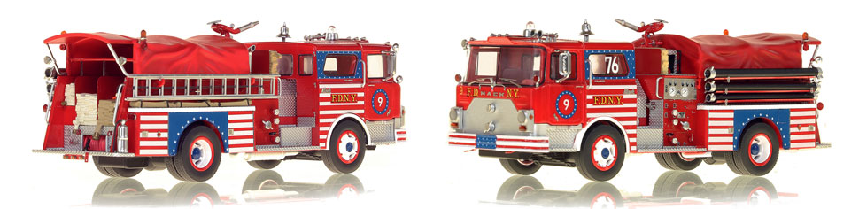 FDNY's 1970 Engine 9 scale model is hand-crafted and intricately detailed.