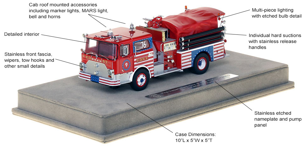Features and Specs of FDNY's 1970 Mack CF Engine 9 scale model