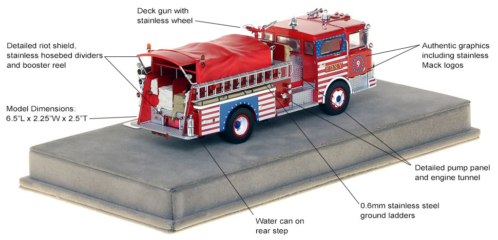 Specs and features of FDNY's 1970 Mack CF Engine 9 scale model