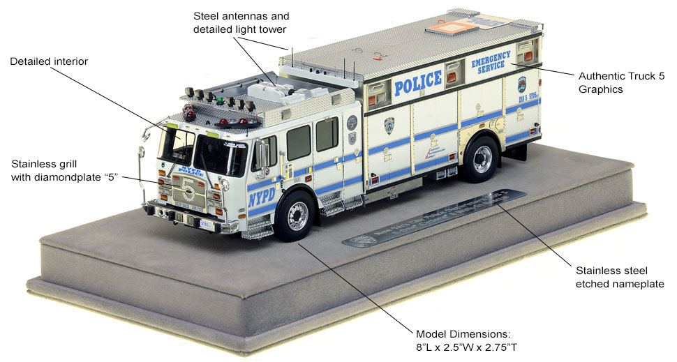 Features and specs of NYPD ESS Truck 5 scale model