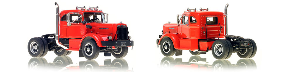 1:50 scale model of 1954 Autocar DC-100T Integral Sleeper in Red over Black