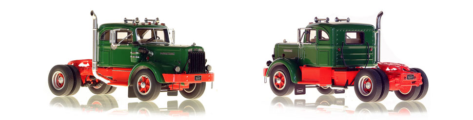 1954 Autocar DC-100T scale models in green over red