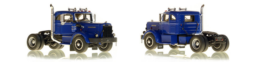 1:50 scale model of 1954 Autocar DC-100T Integral Sleeper in Blue over Black