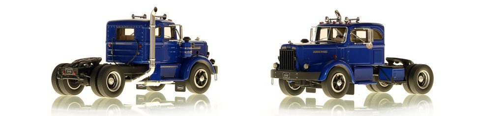 1954 Autocar DC-100T scale models in blue over black