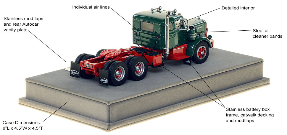 Features and specs of the Autocar DC-100T Tandem Axle Integral Sleeper scale model