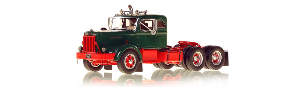 1:50 scale museum grade scale model of the Autocar DC-100T Tandem Axle Integral Sleeper semi truck