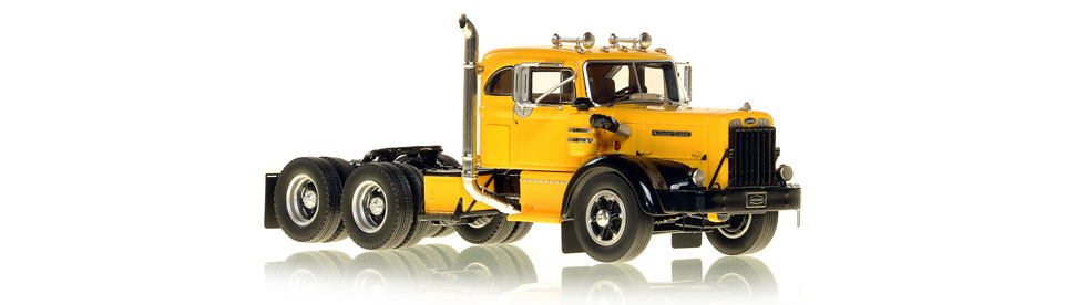 1:50 scale museum grade scale model of the Autocar DC-100T Tandem Axle Integral Sleeper semi truck