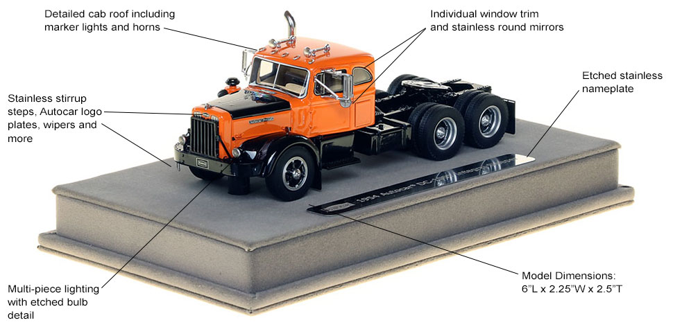 See the 1954 Autocar DC-100T Tandem Axle Integral Sleeper scale model