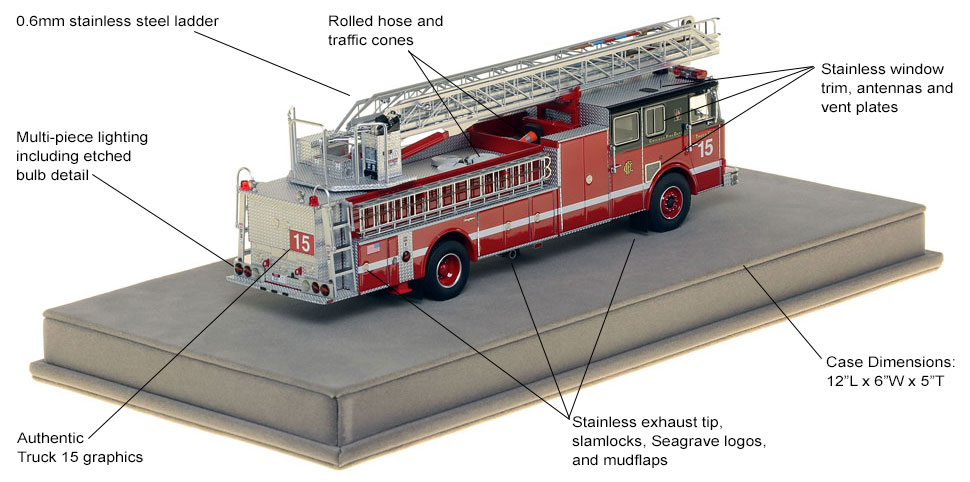 Specs and features of Chicago's 1993 Seagrave Truck 15 scale model