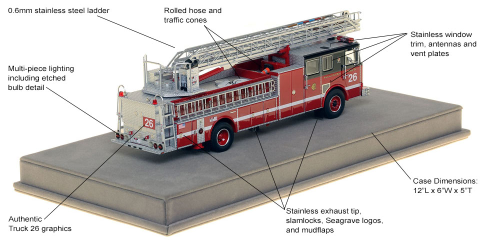 Specs and features of Chicago's 1995 Seagrave Truck 26 scale model