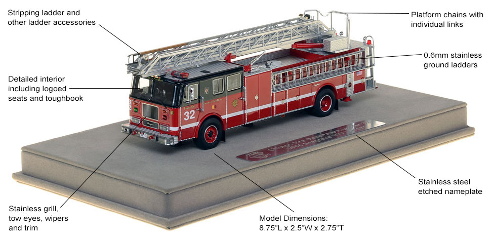 Features and Specs of Chicago's 1996 Truck 32 scale model