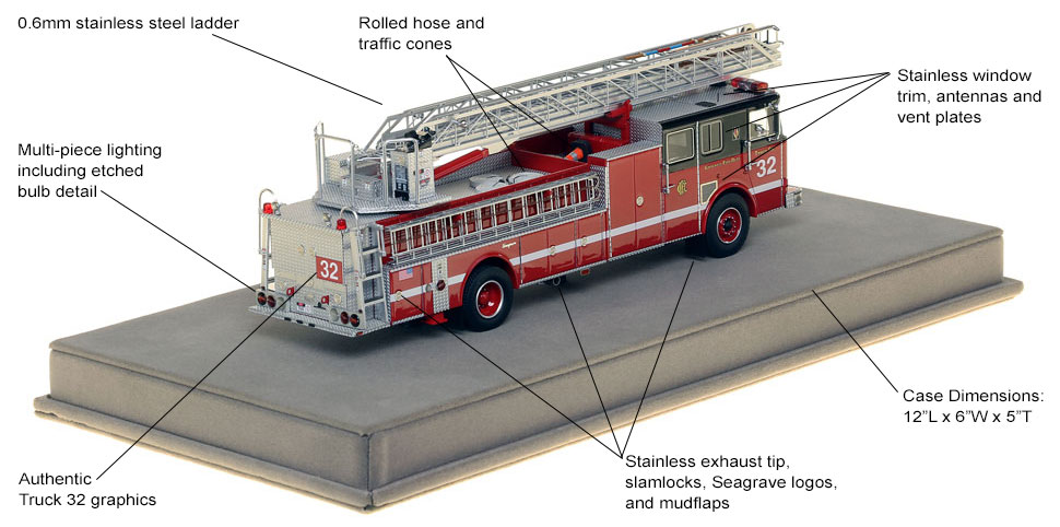 Learn more about the intricate details on Chicago's Truck 32 scale model