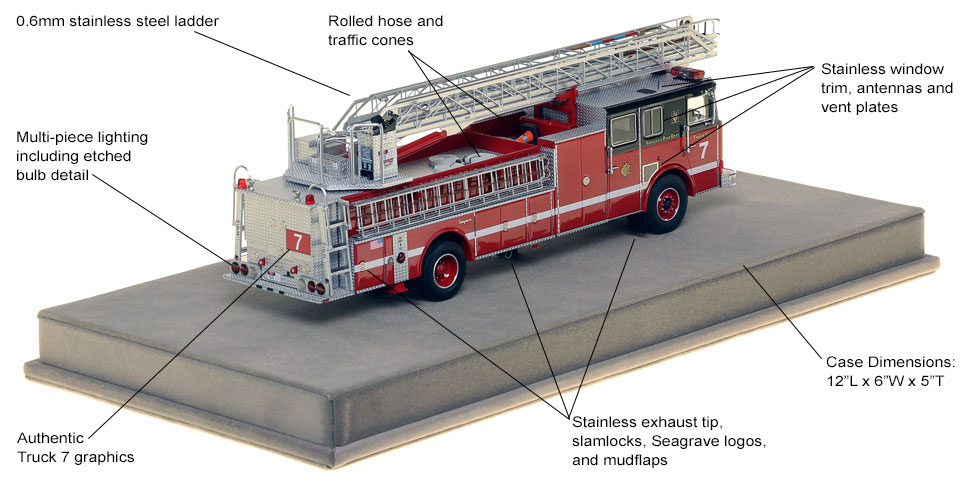 Specs and features of Chicago's 1996 Seagrave Truck 7 scale model