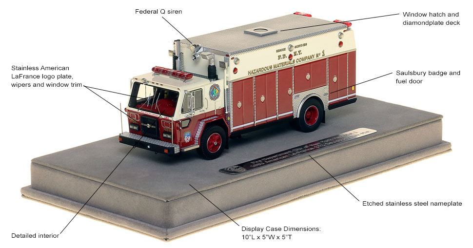 Features and specs of 1983 FDNY Haz-Mat 1 scale model
