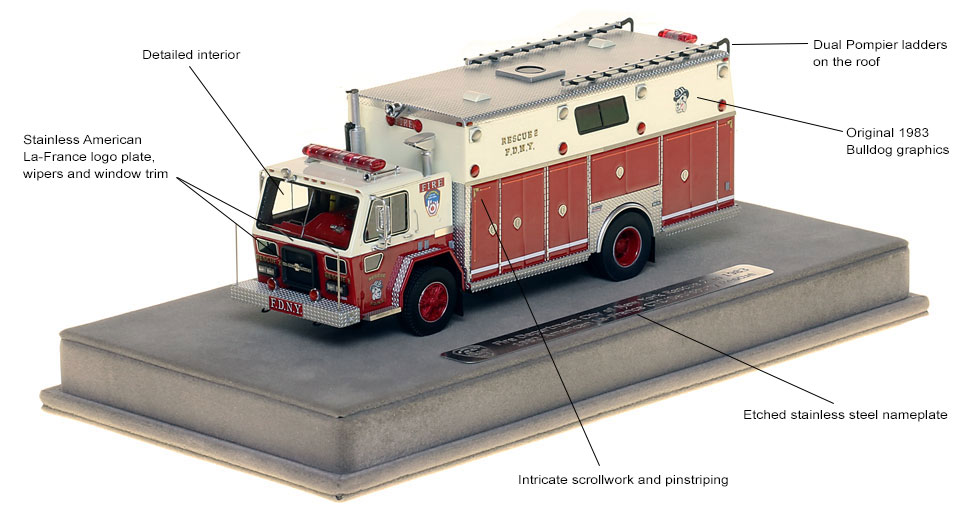 Features and specs of 1982 FDNY Rescue 2