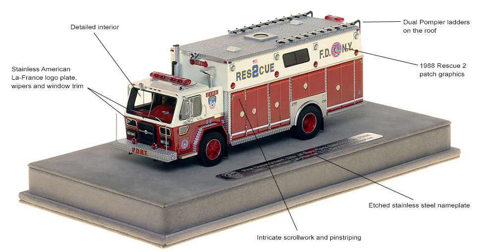 Features and specs of 1982 FDNY Rescue 2 in 1988